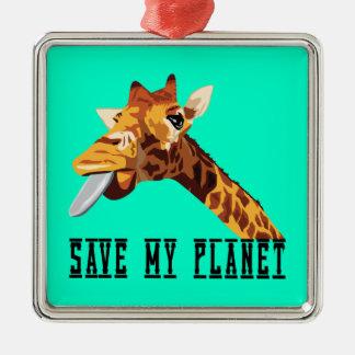 Save My Planet Giraffe Square Metal Christmas Ornament
