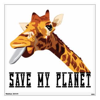 Save My Planet Giraffe Wall Decal