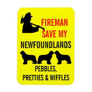 Save My THREE Newfoundlands Fire Safety Magnet