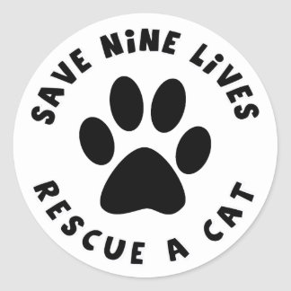 Save Nine Lives Rescue a Cat Stickers
