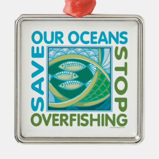 Save Oceans Square Metal Christmas Ornament