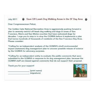 Save Off-Leash Dog Walking Congresswoman Pelosi Post Cards