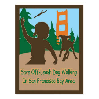 Save Off-Leash Dog Walking Senator Boxer Postcards