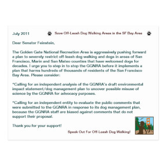 Save Off Leash Dog Walking Senator Feinstein Postcards
