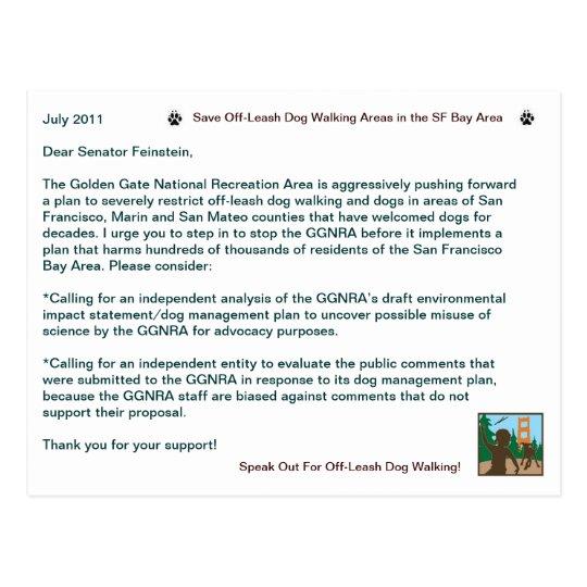 Save Off Leash Dog Walking Senator Feinstein Postcard