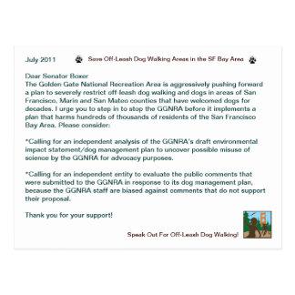 Save OIff Leash Dog Walking Senator Boxer Post Cards