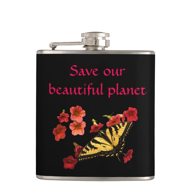 Save Our Beautiful Planet Butterfly Flowers Flask