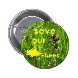 save our bees pinback button