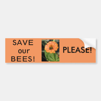 SAVE OUR BEES  PLEASE BUMPER STICKER