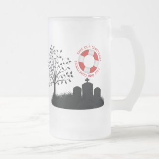 Save Our Cemeteries Frosted Glass Beer Mug