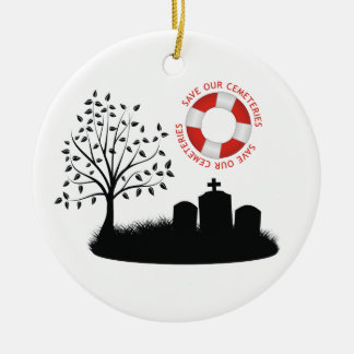 Save Our Cemeteries Double-Sided Ceramic Round Christmas Ornament