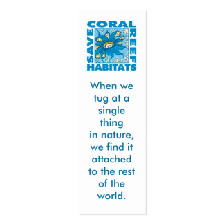 Save Our Coral Reefs Bookmark Double-Sided Mini Business Cards (Pack Of 20)