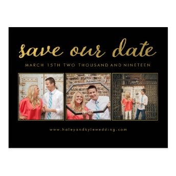 Save our Date Black Gold Typography Photo Postcard