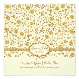 Save our Date Gold Leaf Glitter Confetti Polka Dot Card