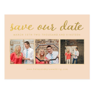 Save our Date Gold Script Typography Photo Postcard