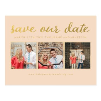 Save our Date Gold Script Typography Photo Post Cards