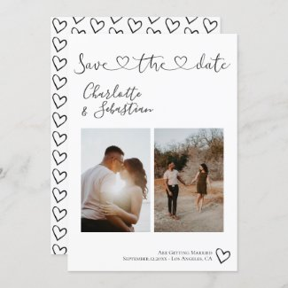 Save Our Date Handwritten Heart Personalized Photo Save The Date