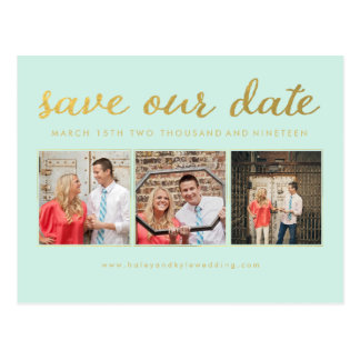 Save our Date Mint Gold Typography Photo Postcard