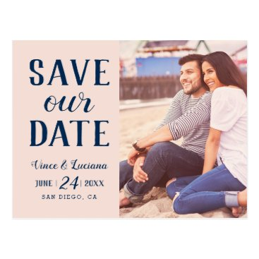 Beach Themed Save Our Date | Navy Blue Wedding Postcard
