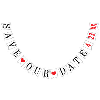 SAVE OUR DATE: PERSONALIZED WEDDING DATE BUNTING FLAGS