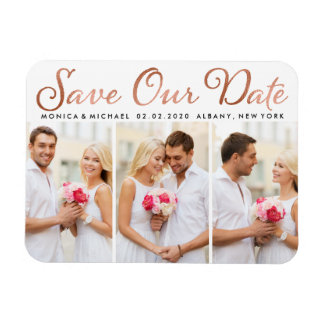 Save Our Date Rose Gold Foil Script Photo Magnet