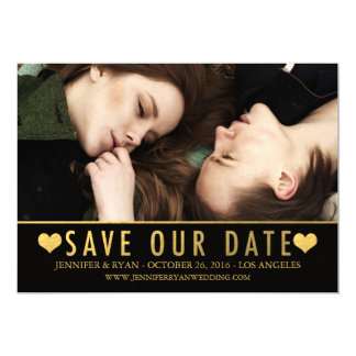 SAVE OUR DATE | SAVE THE DATE GOLD FOIL 5X7 PAPER INVITATION CARD