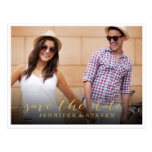 SAVE OUR DATE   SAVE THE DATE GOLDEN ANNOUNCEMENT POSTCARD