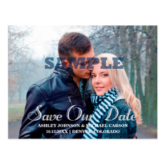 Save Our Date Silver Typography Photo Wedding Postcard