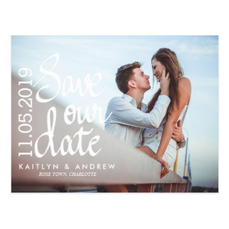 Save Our Date Typography Couple Photo Postcard
