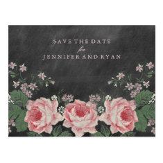 SAVE OUR DATE | Vintage Chalkboard Rose Postcard