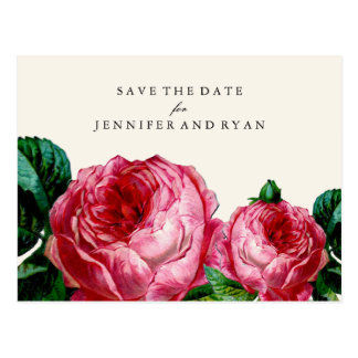 SAVE OUR DATE | Vintage Rose Save the Date Postcard