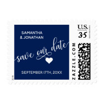 SAVE our DATE White Navy Blue Wedding Postage