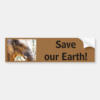 Save our Earth! Elephant Photo Car Bumper Sticker
