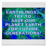 SAVE OUR EARTH FOR FUTURE GENERATIONS PRINT