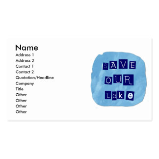 Save Our Lake in Blue Inverted Block letters Business Card