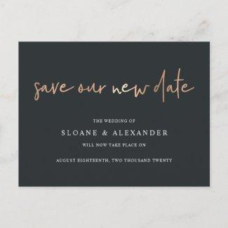 Save Our New Date Modern Wedding Postponement Announcement Postcard