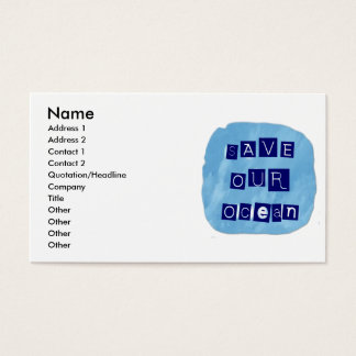 Save Our Ocean Watery Blue Background Business Card
