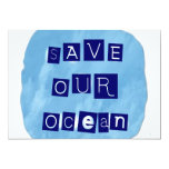 Save Our Ocean Watery Blue Background Announcements