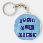 Save Our Ocean Watery Blue Background Key Chain