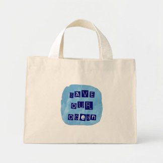 Save Our Ocean Watery Blue Background Mini Tote Bag