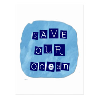 Save Our Ocean Watery Blue Background Postcard