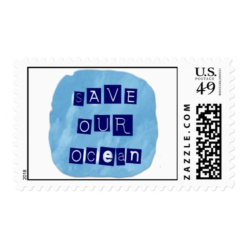 Save Our Ocean Watery Blue Background Stamps