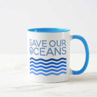 Save Our Oceans Blue Stylized Earth Waves Mug