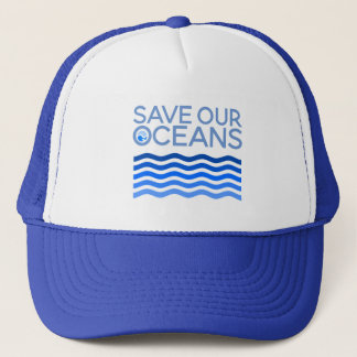 Save Our Oceans Blue Stylized Earth Waves Trucker Hat