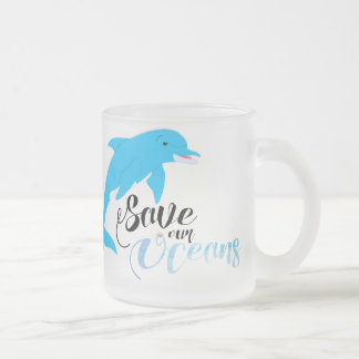 Save our Oceans Frosted Glass Coffee Mug