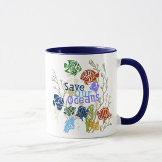 Save Our Oceans Nautical Coral Reef Coffee Cup