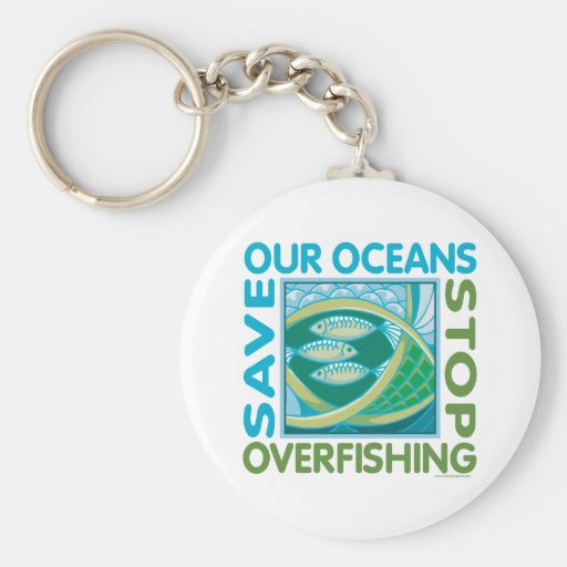 Save Our Oceans - Stop Overfishing Basic Round Button Keychain