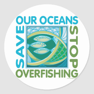 Save Our Oceans - Stop Overfishing Classic Round Sticker