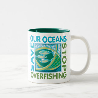 Save Our Oceans - Stop Overfishing Two-Tone Coffee Mug