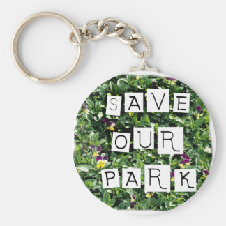 Save Our Park! White block inverted text on flower Basic Round Button Keychain